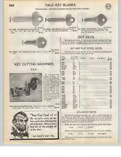 1935 PAPER AD Yale Brand Hand Power Crank Key Cutting Machine