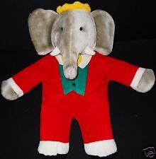 "Gund Plush Elephant Babar Stufed Vintage 15"" Toy Animal Red Suit Crown"