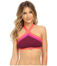 BECCA METROPOLIS HIGH NECK HALTER BIKINI SWIM TOP MARSALA PURPLE LARGE NEW! $58