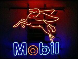 New Mobil Pegasus Gas Mobilgas screen silk Real Glass Neon Sign Beer Bar Light
