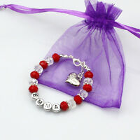 Personalised Bridesmaid Bride Wedding Flower Girl Birthday Gift Charm Bracelet