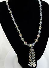 Beautiful Vintage Necklace Aurora Borealis Clear Crystals with Lauriat Pendant