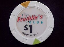 "$1 CASINO CHIP -- FREDDIE'S CLUB -- EVERETT, WASHINGTON -- ""COLLECTABLE"""