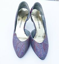 Vtg Women's Jacques Levine Heels Leather & Paisley Fabric Shoes Size 7 1/2 B Usa