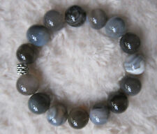 Botswana Agate Bracelet with Silver Spacer - Big Beads 14 mm. UNISEX.