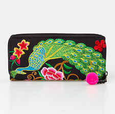 Peacock Hill Tribe Woman's Hmong Embroidered Wallet Fair Trade Thailand in Green