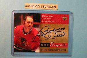 2001 Upper Deck NHL Legends Epic Signatures Bobby Hull Auto HOF #BH Chicago