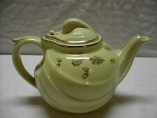 VINTAGE HALL TEAPOT Yellow w/ Gold Trim Acorns & Leaves ~ Rare Hook Lid ~ 6 cup