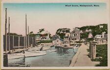Vtg Wharf Scene in Mattapoisett Massachusetts Ma Postcard
