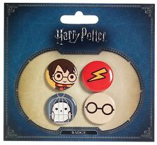 Official Harry Potter Cutie Button Badge Set - Harry Hedwig Owl Lighting Glasses