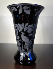 "CAMBRIDGE EBONY BLACK ART GLASS 12"" BIRD VASE #402 ETCHED ELEGANT DEPRESSION ERA"