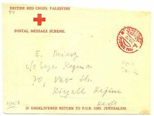 PALESTINE  BRITISH MIL. OCCUP. 1941-12-30 RED CROSS POSTAGE PAID-FLAP MISSING ..