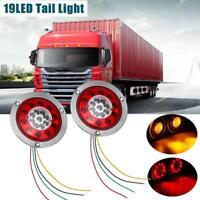 """2 x 4.3"""" Round 19 LED Truck Trailer Lorry Brake Stop Turn Tail Light  12V/24V"""