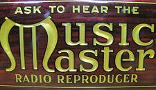 MUSIC MASTER RADIO REPRODUCER Old Crystoglas Ad Sign Whitehead Hoag Newark NJ