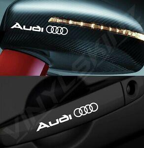 4x Audi Logo Premium Cast Door Handle / Mirror Decals Stickers Quattro S-line RS