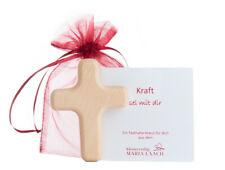 Handschmeichler LERCHEN Kreuz Holz Buche Regenbogen Psalm 16,1 Gott 60x40x13mm