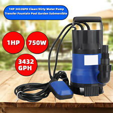 1hp 3432gph Cleandirty Water Pump Transfer Fountain Pool Garden Submersible H2