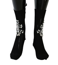 NEW $720 DOLCE & GABBANA Socks Black Knitted Floral Clear Crystal Stockings s. M
