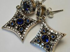 Sterling Silver Drop Earrings Blue Sapphire Color Crystal surrounded by cz