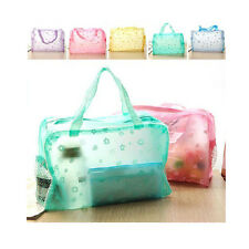 Floral Transparent Waterproof Cosmetic Wash Bag Toiletry Bathing Pouch VR St Purple