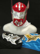 LOT of 3 SIN CARA  BLUE  BLACK  RED  WRESTLING MASKS ADULT SIZE ring Mexico