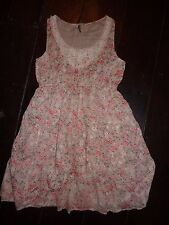 E-vie beige floral dress, sleeveless. Size 10