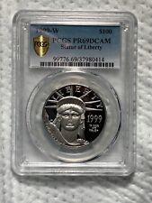"1999W Pcgs Platinum $100 Eagle Collectors Grade Pr69 Dcam ""Gold Shield 🛡"