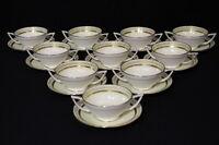 Set of 10 Minton Soup/Boullion Porcelain Cups & Saucers with Deco Handles
