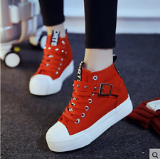 cf23a8a368727d Fashion Korean Women s High top Lace-up Heels Casual canvas Sneakers shoes