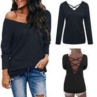 Fashion Women's V Neck Jumper Cross Backless Sweater Tops Long Sleeve Pullover
