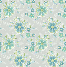 Brewster 2704-22200 For Your Bath III Chloe Green Floral Wallpaper