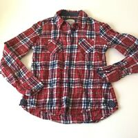 Justice Shirt Sz 14 Pink Blue Plaid Long Sleeve Button Front Girls