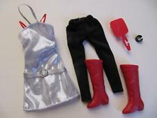 Disney Hannah Montana Doll Miley Cyrus Clothes POPSTAR SILVER DRESS RED Boots