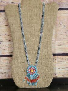 Vintage Tribal Beaded Necklace Star Medallion Pendant & Fringe necklace