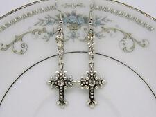 Ornate Rhinestone Cross Earrings Silver Tone
