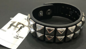 Hot Topic Two Row Pyramid Studded Stud Leather Bracelet Cuff Punk Scene Emo