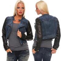 Damen Jeans Jacke Kurzjacke Jacke mit PU Ärmel Gr. S M L XL, 8803