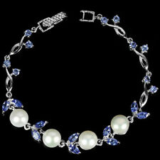 Sterling Silver Genuine Blue Tanzanite and Pearl Bracelet 7 1/4 Inch