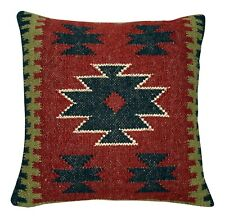 Handwoven Kilim Cushion Cover 18x18 Vintage Handmade Jute Rug Pillow Cases