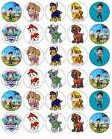 30 x Paw Patrol Cupcake Toppers Edible Wafer Paper Fairy Cake Toppers