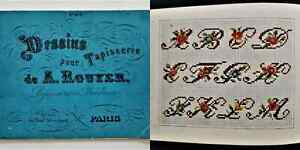 antique FRENCH CROSS STITCH SAMPLER PATTERN BOOK w ADS sewing machine 1867 EXPO