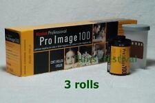 3 rolls Kodak Pro Image 100 Color Film 35mm 36exp 135-36