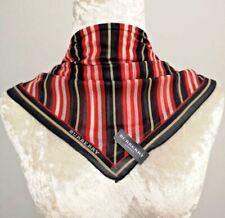 "NWT Handkerchief Neckscarf Black Red  Italic Striped Cottonsilk22"""