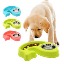 Pet Dog Slow Feeder Anti Choke Puppy Bowl Feeding Double Food Bowl Fish Shape