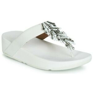 Gorgeous Fit Flop White Jive Treasure Leather Beaded Sandals- Size 10