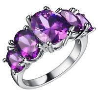 Luxury Alexandrite Ring 925 Sterling Silver Purple Women's Engagement Jewelry
