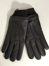 Stewart of Scotland Mens Leather Gloves Fleece Lined Wool Blend Cuff Brown Sz M