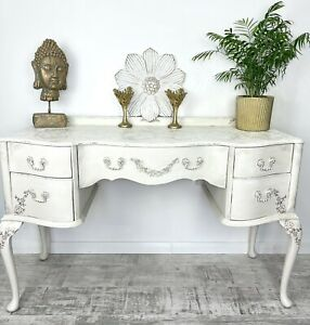 Beautiful Hand Painted Rustic White Vintage Sideboard Dresser Cabinet Lace Top