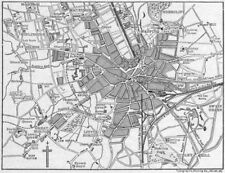Antique Town/city Map Plan Bradford Yorkshire 1893 Old Chart