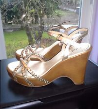 COLE HAAN NIKE AIR GOLD BRAIDED LEATHER WEDGES 8B ~ ADJUSTABLE ANKLE STRAP ~ EUC